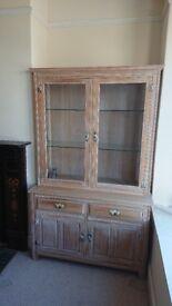 Limed Oak Display Cabinet,/Dresser
