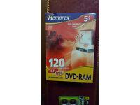 5 Memorex DVD-RAM Disc 4.7gb Rewritable DVD Case 4.7GB 120MIN DVDRAM 4.7gb