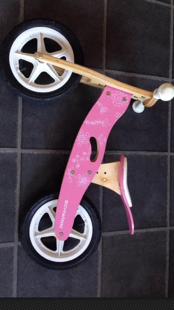 Schwinn pink wooden balance bike