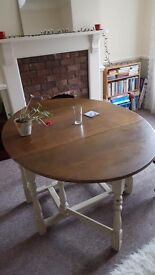 Cream/ dark wood dining table. Rustic/shabby chic. £35