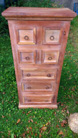 DRAWERS, HEAVY INDIAN RUSTIC HARD WOOD H 125cm (49.5 in) x 57.5cm (22.75 in) x 33.5cm (13.25in)