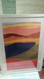 Large white framed (76cm wide x 106cm high) modern print