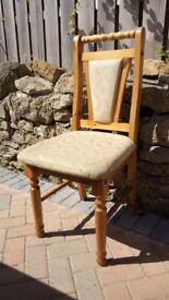 Two Wooden/Cream Padded Dining Chairsp