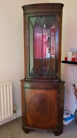 Corner display cabinet wooden with glass shelves - can deliver