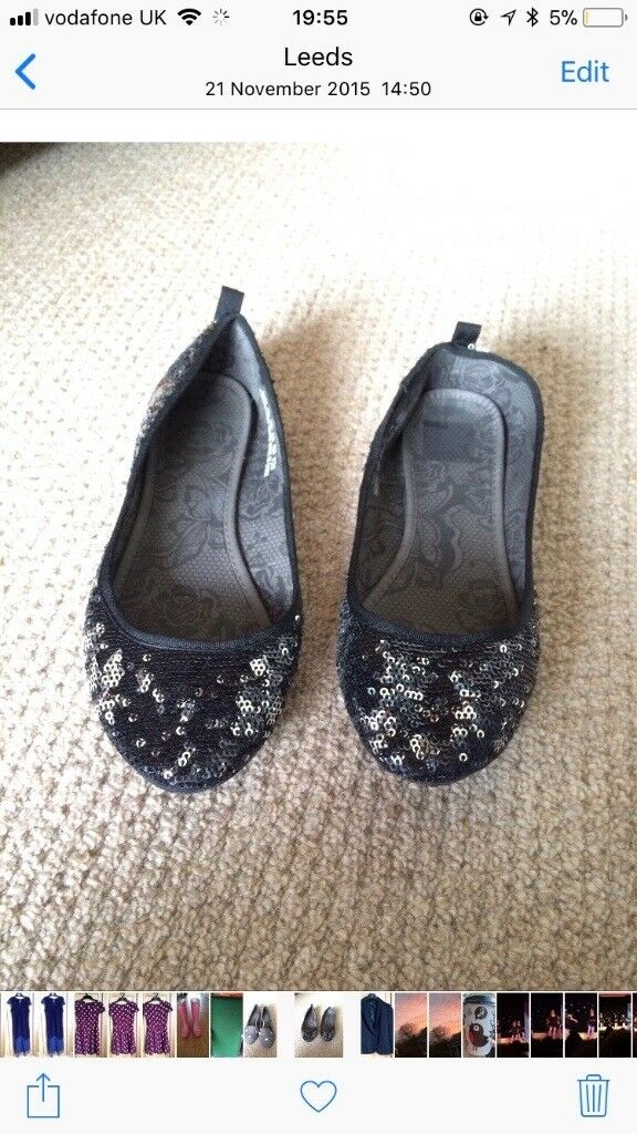 Girls sequin black pumps, H&M uk size 3