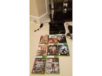BLACK 250GB XBOX 360 SLIM WITH CONNECT, ONE CONTROLLER AND 8 GAMES INCLUDING GTA 5 & BLACK OPS 2