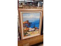 Oil Painting Print of Mediterranean Scene