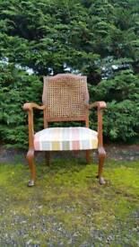 antique Light oak bergere armchair vintage retro.