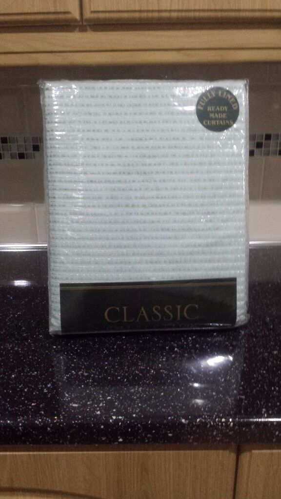 """Fully lined curtains classic collection 46""""x 90""""colour baby blue. brand new never been used."""