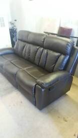 3 seater brown leather recliner in great condition