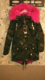 Girls pink fur hood camouflage coat