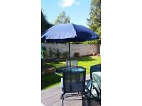 Navy Garden Table, Parasol and Two Chairs