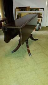 Mahogany drop leaf coffee table