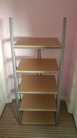 5 tier curved shelves/tall small tv stand/media stand/book shelf (wood beech and metal look) £10ono