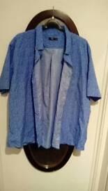 Xxxxl Men's casual shirt. Blue with light blue flowers.