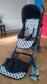 Baby stroller black and white with raincover and cover