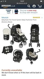 Baby style travel system TS2 dominoe black 3 piece