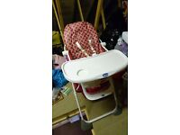 Chicco red and white foldable high chair