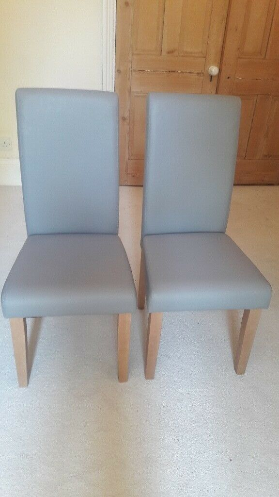 Tremendous Pair Of Light Grey Leather Effect Dining Chairs In Ealing Broadway London Gumtree Gamerscity Chair Design For Home Gamerscityorg
