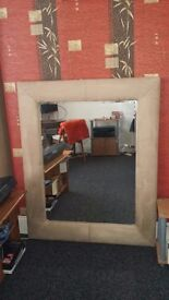 Large mirror sueded frame