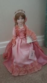 "VICTORIA IMPEX CORP "" GENEVIEVE "" PORCELAIN 17"" MUSICAL DOLL ON STAND BOXED"