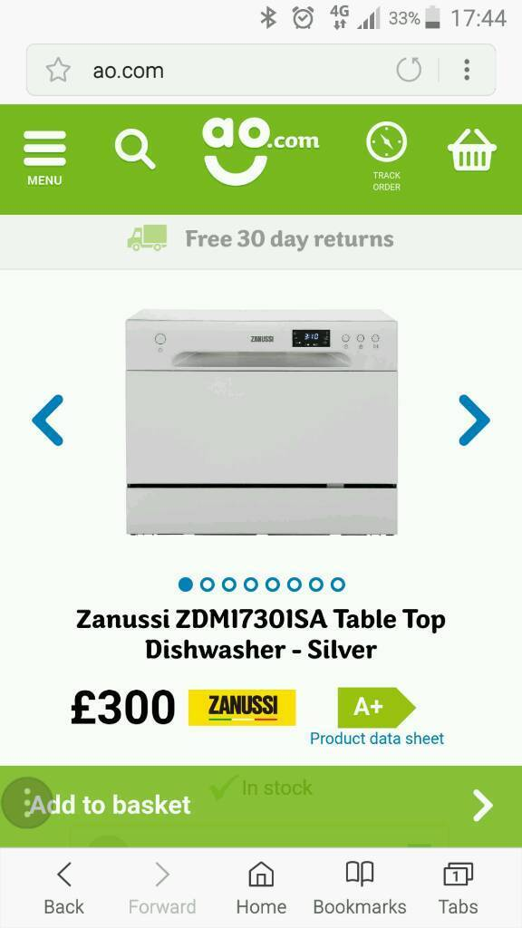 Zanussi table top dishwasher