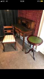 Chesterfield Leather Topped Pedastal Desk & Chair & Light Dressing Table 4Piece FREE LOCAL DELIVERY!