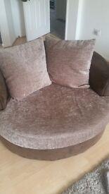 Brown Fabric Cuddle Chair