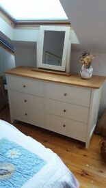 Matching bedroom set - dressing table, double bedhead, drawers, stool and two mirrors