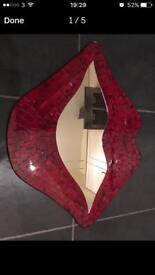 Brand new lip shaped mosaic mirror