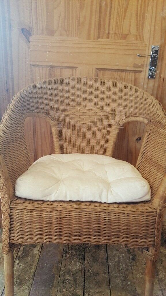 Ikea wicker chair and fitted cushion