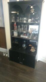 Black Wood Furniture Cabinet Unit with push open glass front, glass shelves and Cupboard