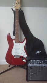 Electric Guitar with Amplifier, Case & Stand