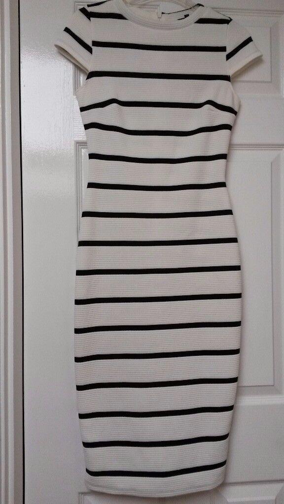 Womens River Island Cream And Black Stripe Bodycon Midi Dress In