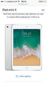 iPad mini 4 wifi and cellular 128gb