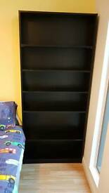 Black bookcase with 6 shelves