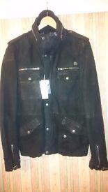 Absolutely Rare Diesel jacket black suede M medium size slim fit BNWT