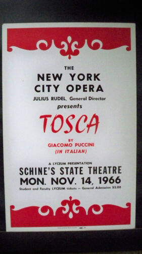 NEW YORK CITY OPERA COMPANY Window Card SCHINE