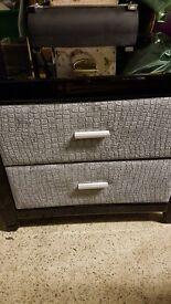 Black Mirrored Bedside Cabinet - 2 drawer