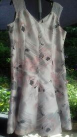 STUNNING PINK/GREY/BLACK FULLY LINED JACQUES VERT DRESS - SIZE 22 - WORN ONCE !