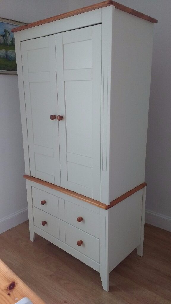 Nursery furniture set 4 piece cot bed wardrobe changing unit white pine woodin Ayr, South AyrshireGumtree - Nursery furniture set Includes Wardrobe with top shelf, rail and two drawers Cot / cot bed Changing / storage unit with 3 top drawers, two cupboard doors and a shelf Toy box with self supporting lid Well loved furniture set, nice neutral colour,...