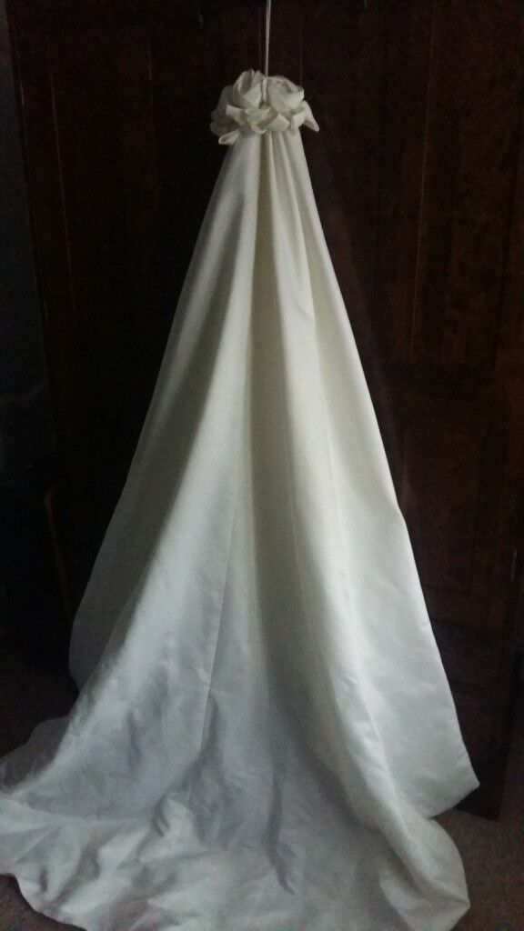 Cream Fitted Wedding Dress Long Detachable Train Size 12