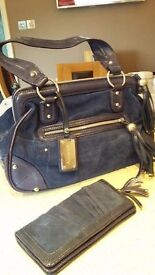 Blue Suede and patent leather Gladstone handbag and optional purse