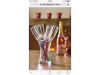 Champagne flutes, tulip stem design, multicoloured