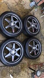 18inch Calibre alloy wheels, GTR MONOBLOCK, one wheel curbed badly hence low price