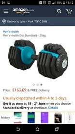 Mens Health 25kg x 2 Dial Dumbells