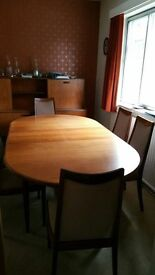 G Plan Dining room table and 4 chairs