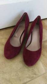 Clarks Suede Court Wedge Shoes