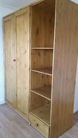 Large wood wardrobe with shelfs