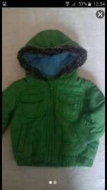 M&S 0-3 months hooded green winter coat jacket
